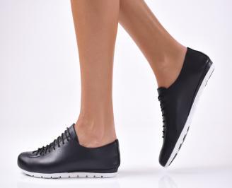 Дамски обувки равни- Гигант естествена кожа черни QTJW-1012821