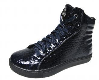 Дамски обувки равни сини  еко лак WMKF-22434