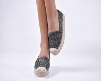 Дамски обувки равни текстил черни CPDG-1013881