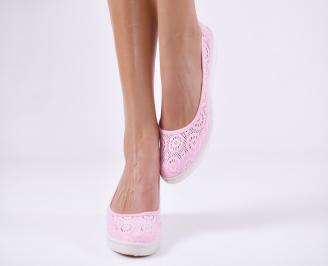 Дамски  обувки  розови текстил KRWN-23956