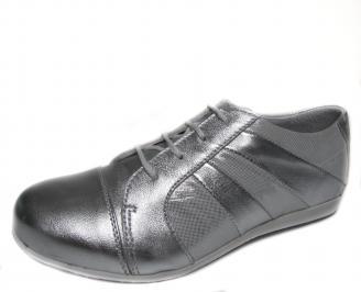 Дамски обувки сребристи естествена кожа URPL-18885