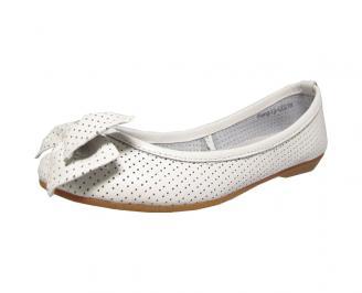 Дамски обувки тип пантофки естествена кожа бели HCBG-13129