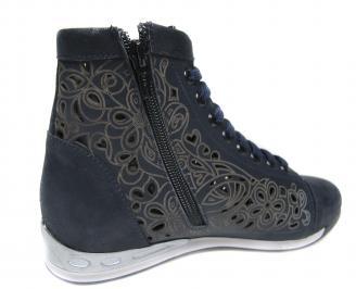 Дамски обувки тъмно сини естествена кожа JANS-18900