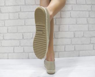 Дамски  обувки  златисти еко кожа FKKD-24050