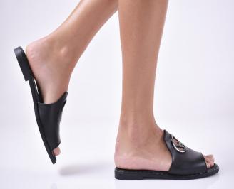 Дамски равни чехли естествена кожа черни. UEXK-1013871