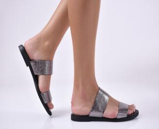 Дамски равни чехли естествена кожа сребристи. DJPC-1013936