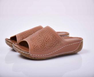 Дамски равни чехли естествена кожа кафяви  OEIC-1015836
