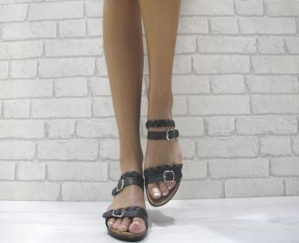 Дамски равни чехли  естествена  кожа черни TFVM-24009