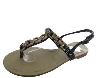 Дамски равни чехли естествена кожа черни AVEY-19584