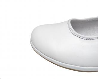 Дамски равни обувки бели естествена кожа HEVU-21397