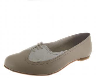 Дамски равни обувки бежови естествена кожа QAZH-19096