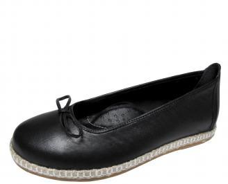 Дамски равни обувки черни естествена кожа FQMF-21309