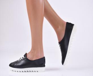 Дамски равни обувки черни еко кожа EBTN-21793