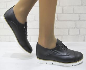 Дамски равни обувки черни естествена кожа AWMV-23148