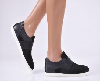 Дамски равни обувки черни естествена кожа GWOM-23154