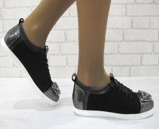 Дамски равни обувки черно/сребристи естествена кожа VAPX-23155