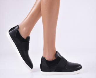 Дамски равни обувки черни естествена кожа LDDE-23156