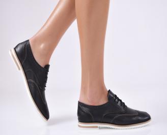 Дамски равни обувки черни естествена кожа GHTU-23163