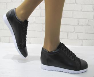 Дамски равни обувки черни естествена кожа OGJG-23339
