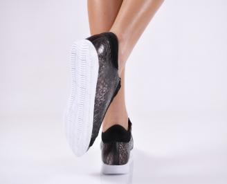Дамски равни обувки черни естествена кожа CCFE-23341