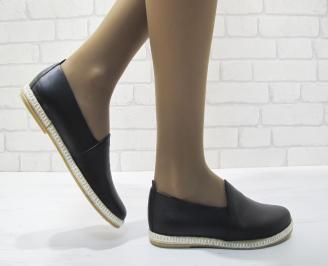 Дамски равни обувки черни естествена кожа XHTP-23480