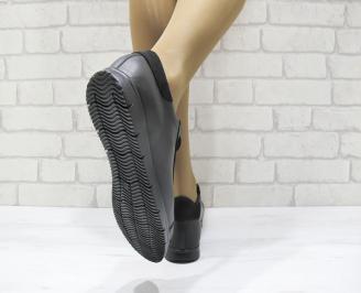 Дамски равни обувки черни естествена кожа XBMO-23482