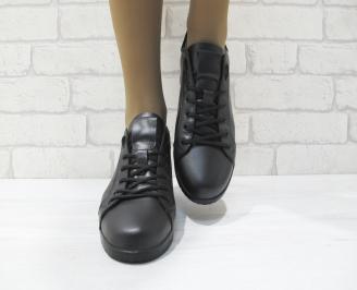 Дамски равни обувки черни естествена кожа 4