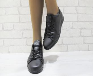 Дамски равни обувки черни естествена кожа 5