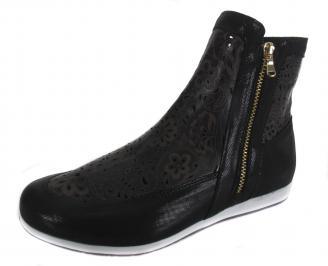Дамски равни обувки черни естествена кожа XPMD-19093