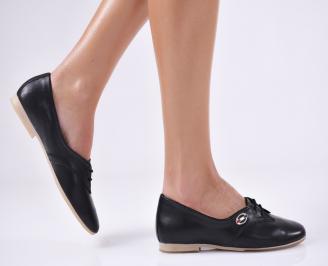 Дамски равни обувки черни естествена кожа BNZU-19097