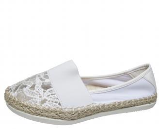 Дамски равни обувки дантела бели ZGFR-21612