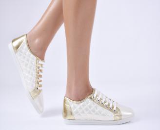 Дамски равни обувки еко кожа златисти RQQC-20003