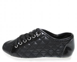 Дамски равни обувки еко кожа черни SIWU-20004