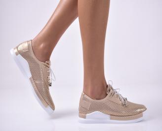 Дамски равни обувки еко кожа златисти. OXJJ-1013635