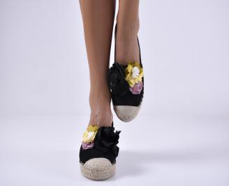 Дамски равни обувки еко велур черни. VTRK-1014067