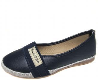 Дамски равни обувки еко кожа тъмно сини SHND-20228