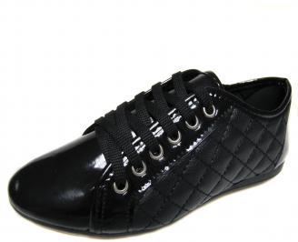 Дамски равни обувки еко кожа/лак черни EWBS-20229