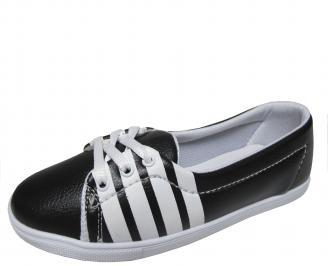 Дамски равни обувки еко кожа черни DZAB-20232