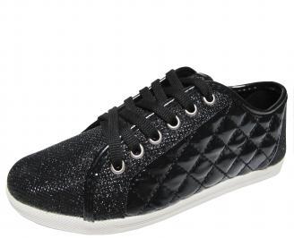 Дамски равни обувки еко кожа/лак черни YTET-20234