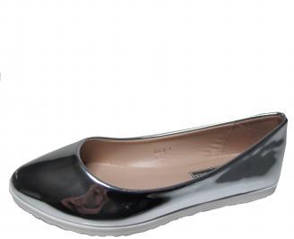 Дамски равни обувки еко кожа/лак сребристи JWSK-21315