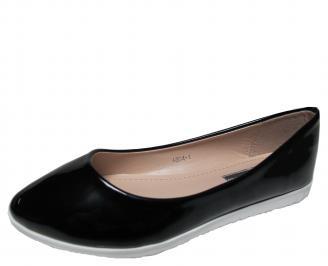 Дамски равни обувки еко кожа/лак черни YMQD-21319