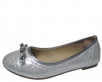 Дамски равни обувки еко кожа сребристи MHZA-21324