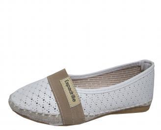 Дамски равни обувки еко кожа бели NVUC-21512