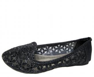 Дамски равни обувки еко кожа черни CTHJ-21616