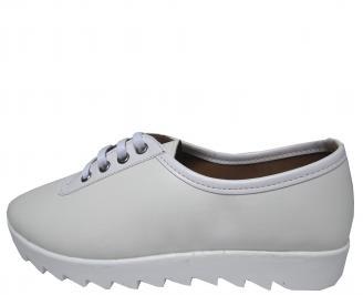 Дамски равни обувки еко кожа  бели BTAW-21792