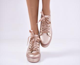 Дамски  равни обувки   еко  кожа пудра OKZZ-25201