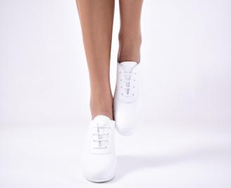 Дамски равни обувки естествена кожа бели. ODGP-1013294