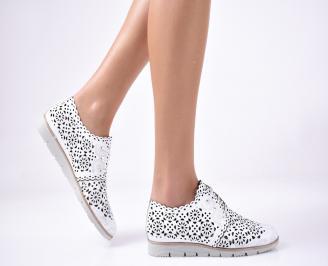 Дамски равни обувки естествена кожа бели. YYTO-1013295