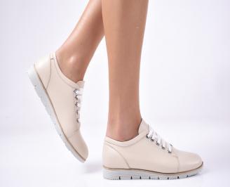 Дамски равни обувки естествена кожа бежови EXYQ-1013296
