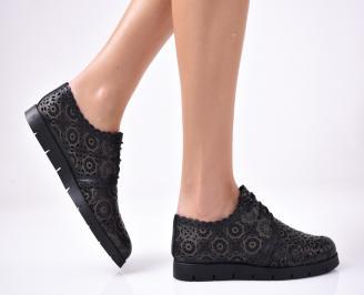 Дамски равни обувки естествена кожа черни. MGRN-1013297